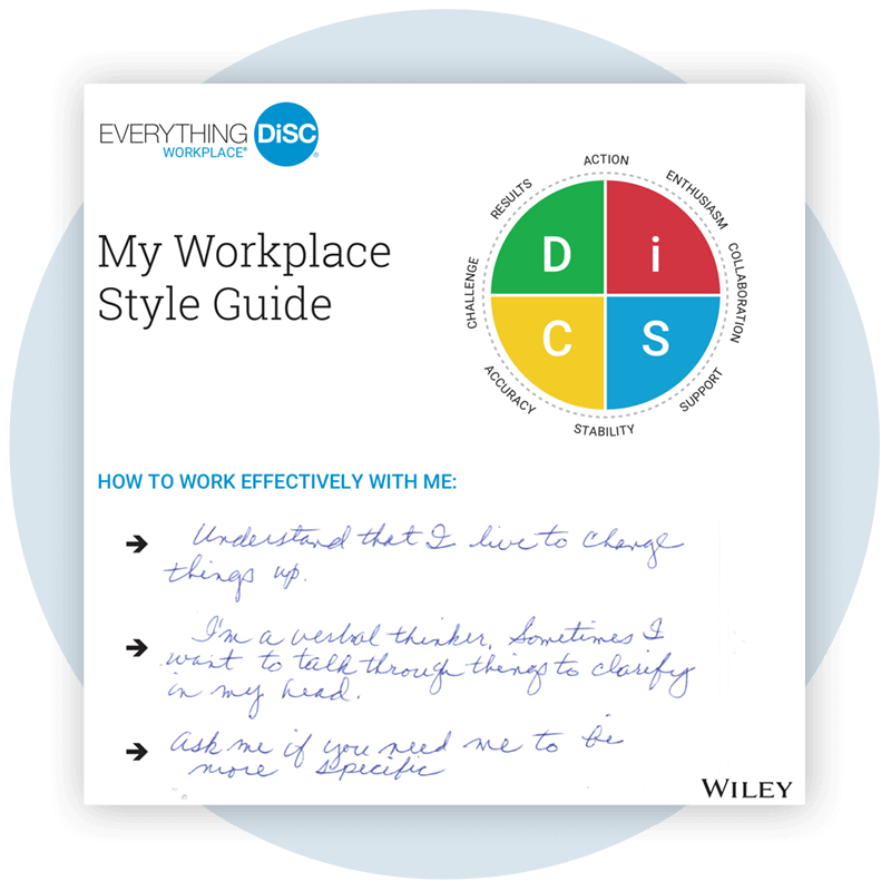 Everything DiSC Workplace® Style Guide sample filled out