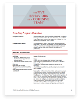 5 Behaviors 1-day Course Outline